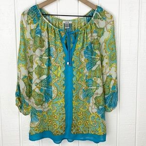 CACHE Blue Baroque Style Cold Shoulder Peasant Long Sleeve Top Size S